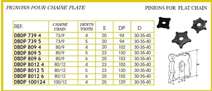 Picture of PINION FOR FLAT CHAIN 100X12 4 TEETH