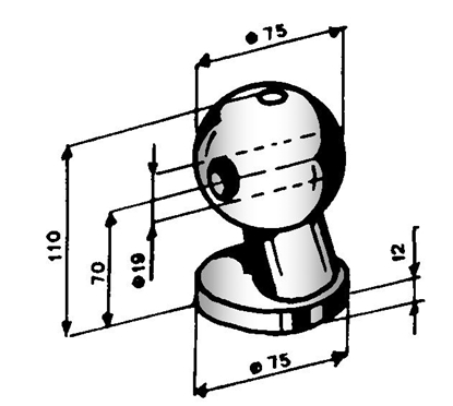 Picture of HOLE TYPE SPHERE CLAMP D.75